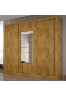 Guarda-Roupa Casal Ônis 3 Portas C/ Espelho – Novo Horizonte - Freijo Dourado