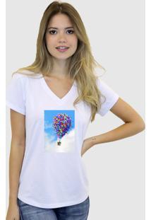 Baby Look T-Shirt Feminina Suffix Branca Gola V Estampa Casinha