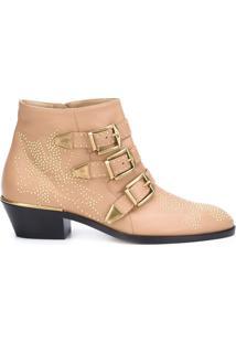 Chloé Ankle Boot De Couro Modelo 'Susanna' - Nude & Neutrals