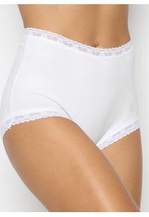 Calcinha Hot Pant Com Renda Com Lycraâ®- Off White- Vvalfrance