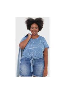 Blusa Cativa Plus Amarração Azul