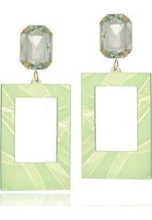 Brinco Le Diamond Acrílico Geométrico Base Cristal Tartaruga - Feminino-Verde Claro