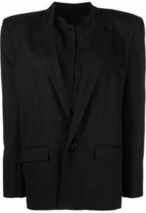 The Attico Blazer Com Ombreiras E Abotoamento Simples - Preto
