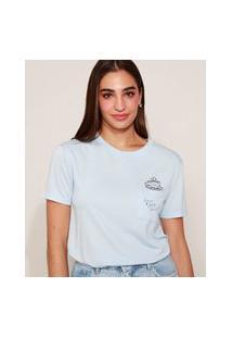 "Camiseta Feminina Friends ""How You Doin?"" Com Bolso Manga Curta Decote Redondo Azul Claro"