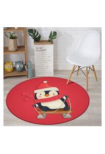 Tapete De Natal Redondo Pinguim Feliz 84Cm