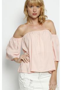 Blusa Ciganinha Lisa - Rosa Claro- Moisellemoisele