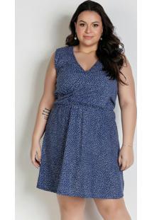Vestido Curto Poá Azul Com Transpasse Plus Size