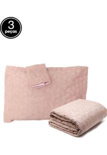 Kit Colcha Casal 3 Pçs Stone Wash Ultrawave Boulevard 2,20M X 2,40M Rosa