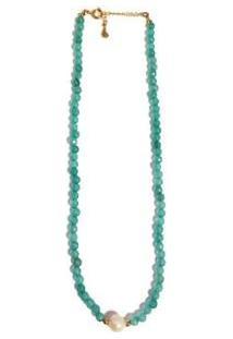 Colar Chocker Pedra Natural Semijoia Banho De Ouro 18K Agata Verde E Perola - Feminino-Verde