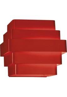 Arandela Interna Retangular Laor Zurique Em Alumínio Bivolt Com Soquete G-9 - Vermelha