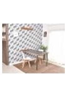 Conjunto De Mesa Dobrável Retrátil 1,40 Preto/Noronha + 2 Cadeiras Leda - Branca
