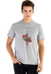 Camiseta Ouroboros Manga Curta Fus Ro Dah !! - Masculino-Cinza