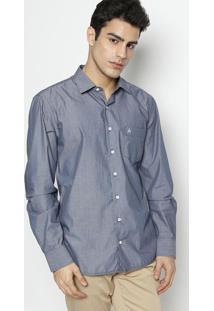 Camisa Slim Fit Listrada Com Bordado- Cinza Escuro & Bravip Reserva
