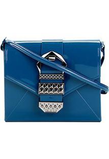 Bolsa Petite Jolie Verniz Detalhe Fivela Alça Transversal Hello Bag Feminina - Feminino-Azul
