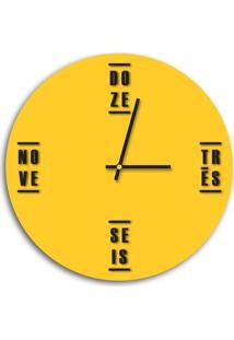 Relógio De Parede Decorativo Premium Amarelo Com Palavras Em Relevo Preto Ônix Médio