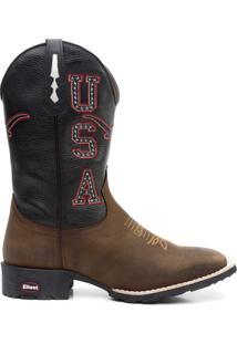 Bota Texana Usa Texas Floather Cafe Marfim 08734 - Masculino-Marrom Escuro+Preto