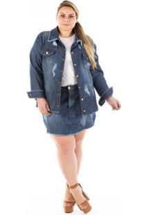 Jaqueta Jeans Confidencial Oversized Destroyed Plus Size Feminina - Feminino-Azul