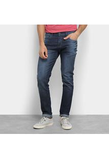 Calça Jeans Slim Aleatory Estonada Cintura Média Masculina - Masculino-Azul