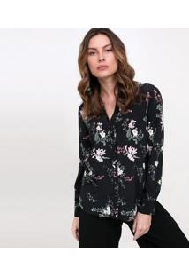 Camisa Floral Com Punho Alongado