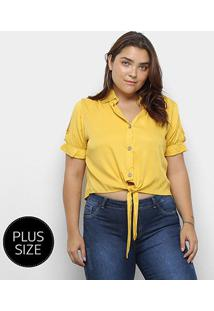 Blusa Heli Plus Size Recorte Manga Curta Amarração Feminina - Feminino-Amarelo