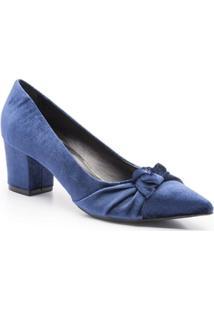 Scarpin Veludo Salto Bloco Cruise Velvet Isorella - Feminino-Azul