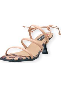 Sandalia Salto Taça Love Shoes 3 Tiras Amarração Onça Nude