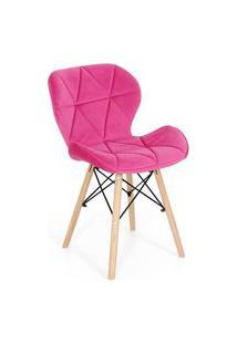 Cadeira Charles Eames Eiffel Slim Veludo Estofada - Rosa