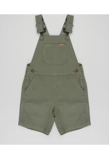 Jardineira Color Infantil Com Bolsos Verde Militar