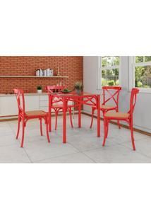 Conjunto De Mesa De Jantar Com 4 Cadeiras E Tampo De Vidro Katrina Vermelho