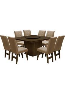 Conjunto De Mesa Para Sala De Jantar Com 8 Cadeiras Esparta-Dobue - Castanho / Mascavo