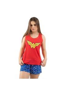 Baby Doll 4 Estações Regata Veráo Adulto Moda Pijama Mulher Maravilha Vermelho