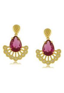 Brinco P.R.A. Folheados Pedra Rosa E Micro Zircônias Dourado