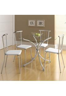 Mesa De Jantar 4 Lugares Camarões Cromado/Branco - Carraro Móveis