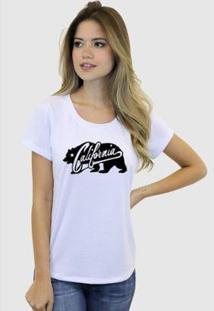 Camiseta Suffix Blusa Estampa California Urso Basica Gola Redonda Feminina - Feminino-Branco