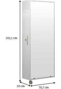 Sapateira Com Espelho Itú 1 Porta E 16 Prateleiras Branco Politorno