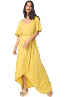 Vestido Mercatto Longo Transpassado Amarelo