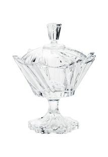 Bomboniere De Cristal Com Tampa E Pé Ikaro 17Cm - Unissex