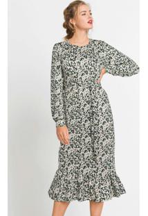 Vestido Midi Com Faixa Floral Preto