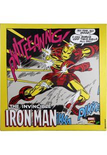 Quadro Zona Criativa Homem De Ferro Ação Vermelho E Amarelo