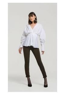 Camisa Manga Bufante Detalhe Franzido Off White