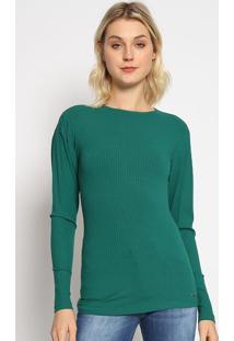 Blusa Canelada Com Pregas - Verde Escuro - Colccicolcci