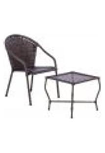 Conjunto Mesa Baixa E Cadeira Para Área Edicula Jardim Biquini Ferro E Fibra Pedra Ferro