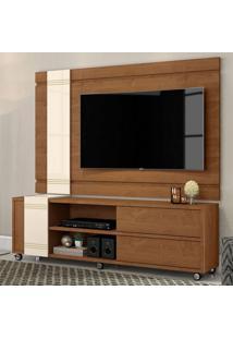 Rack Com Painel Para Tv Até 65 Polegadas Orion Nature E Off White 180 Cm