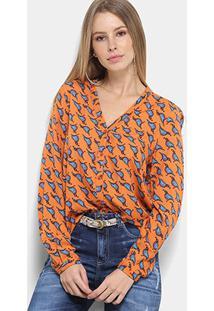 Camisa Manga Longa Colcci Estampada Feminina - Feminino-Laranja+Azul