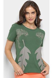Camiseta Sommer Estampada Feminina - Feminino-Verde Escuro