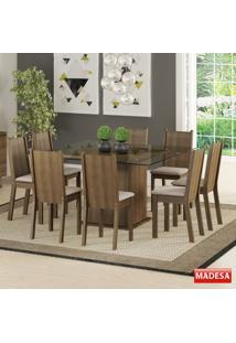 Mesa De Jantar 8 Lugares Camila Rustic/Pérola - Madesa Móveis