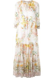 Camilla Vestido Com Estampa Floral - Branco