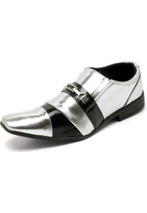 3b4dc41d95 ... Sapato Social Top Franca Shoes Verniz Masculino - Masculino-Preto+Prata
