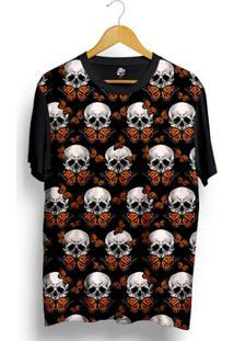 Camiseta Bsc Skull Butterfly Full Print - Masculino-Preto