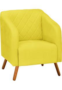 Poltrona Decorativa Silmara Suede Amarelo Pés Palito - D'Rossi